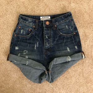 One Teaspoon Hogh Waisted Denim Shorts